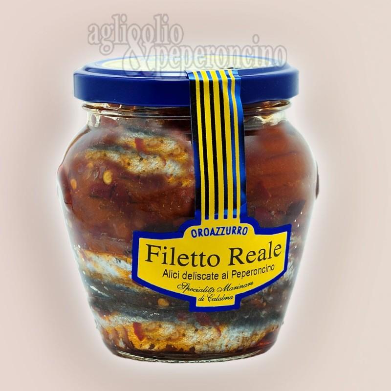 Filetto Reale Oro Azzurro - Alici deliscate al peperoncino in olio extravergine di oliva in vasetto di vetro