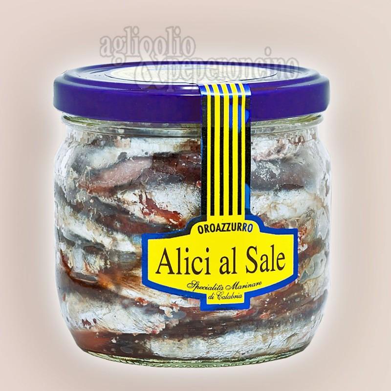 Alici al sale Oroazzurro in vasetto di vetro da 450 gr