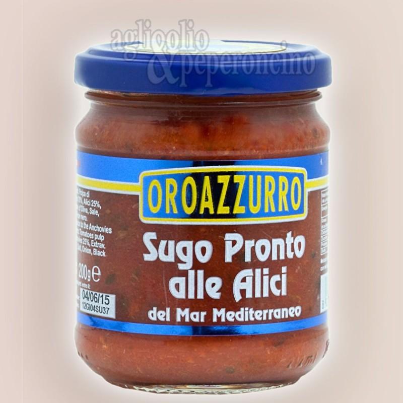 Sugo pronto alle alici Oroazzurro - Sugo calabrese in vasetto di vetro da 200 gr.