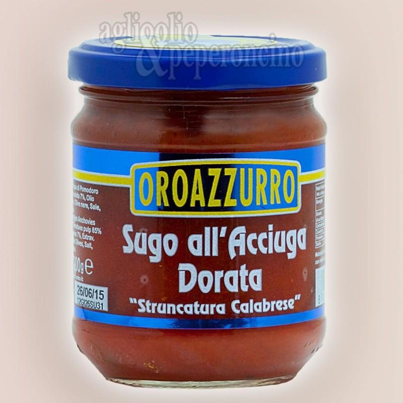 Sugo all'acciuga dorata - Sugo pronto in vasetto di vetro 200 g. Oroazzurro - Prodotti ittici calabresi