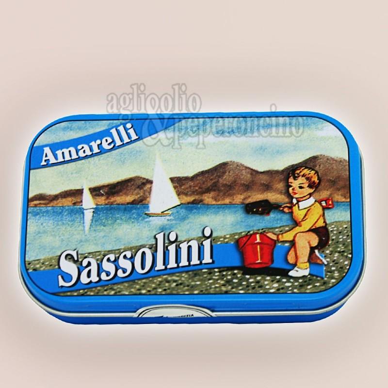 """Sassolini Amarelli in latta da 40g - Confetti morbidi """"Assabesi"""" di liquirizia calabrese"""