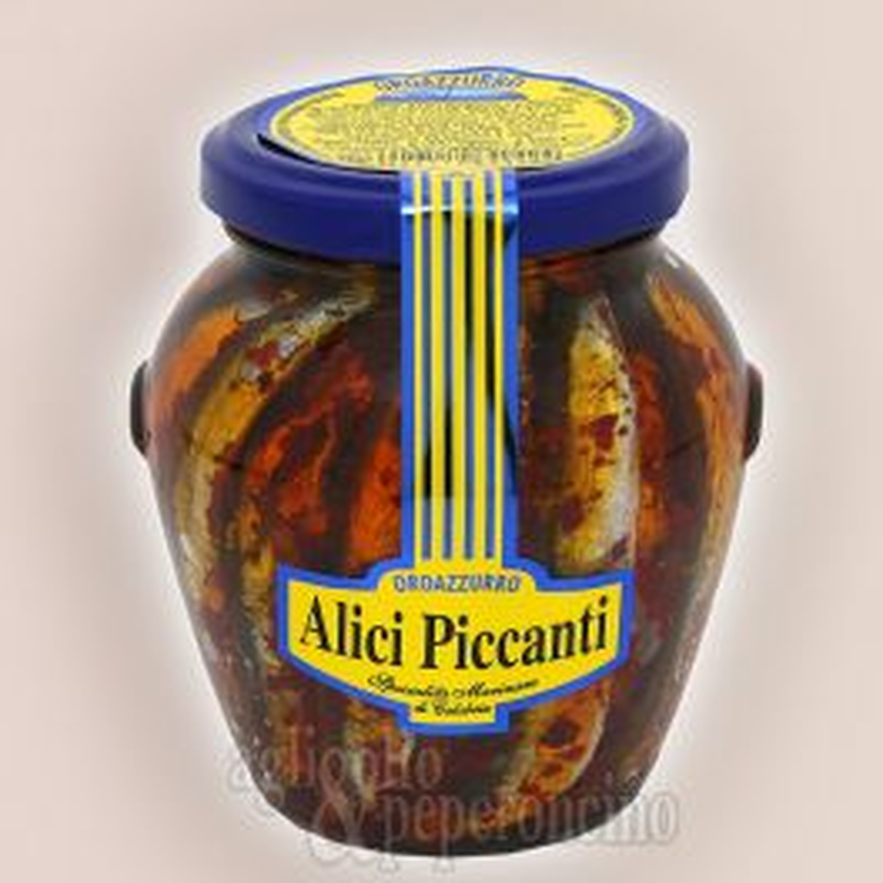 Alici piccanti Oroazzurro in olio extravergine di oliva in vaso di vetro da 300 gr.