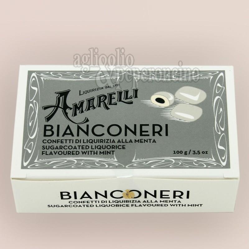 Bianconeri amarelli - Confetti di liquirizia alla menta in scatola da 100 grammi