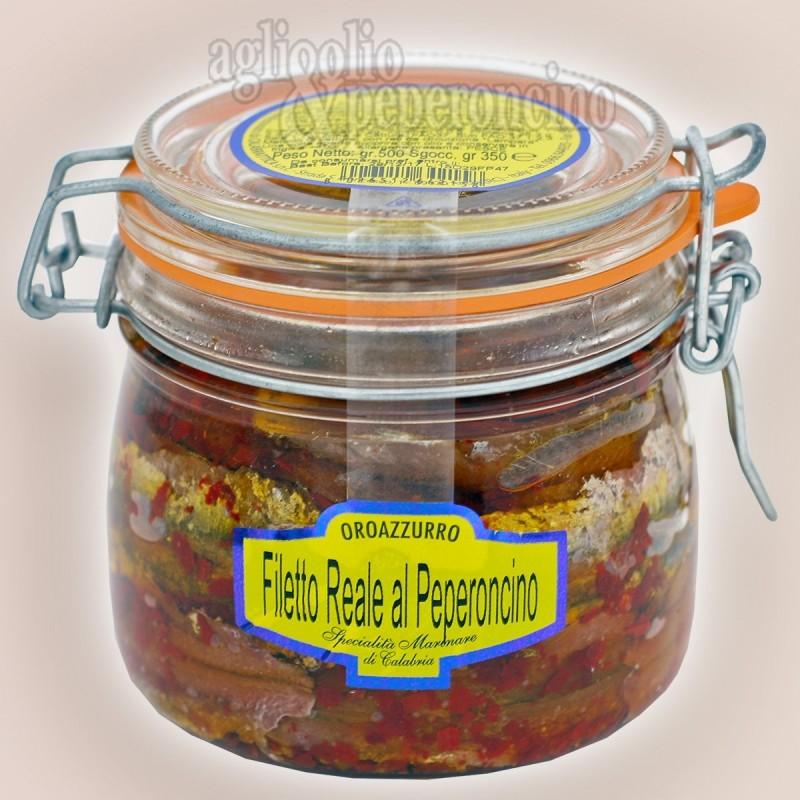 Filetto Reale di alici al peperoncino - Vaso ermetico in olio extravergine