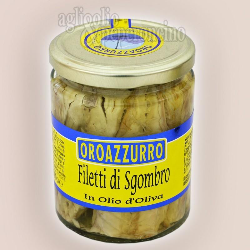 Filetti di sgombro in olio d'oliva Oroazzurro - Prodotti in Calabria da pescato del Mediterraneo