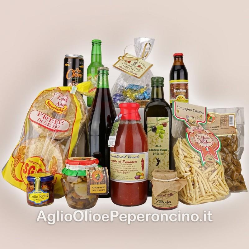 Pacco calabrese - Una scelta assortita di prodotti tipici dal piccante della nduja al dolce del torrone