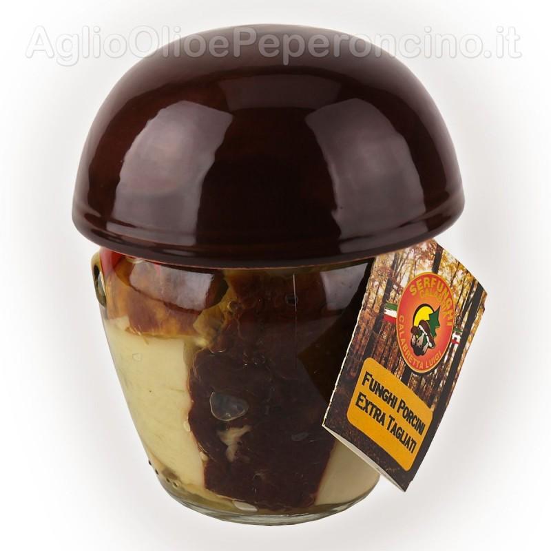 Porcini extra in olio d'oliva - In originale vasetto a forma di fungo con cappello