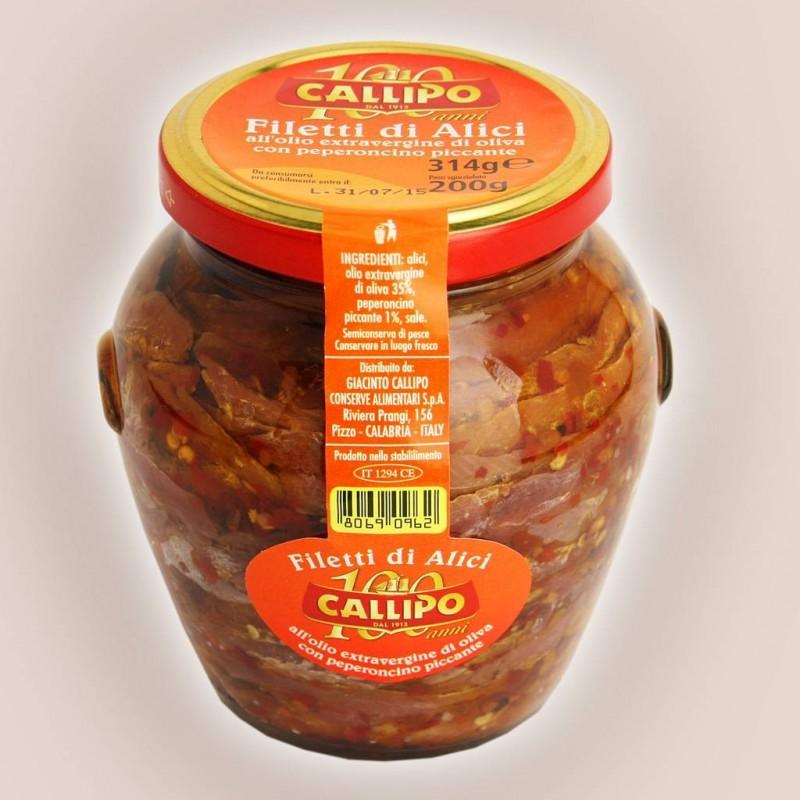 Filetti di alici all'olio extravergine d'oliva con peperoncino piccante